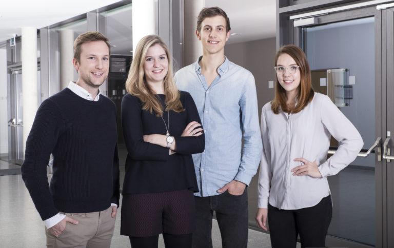 Die nevit-Gründer (von links): Thomas Eckerl, Alina Grüner, Nikolas Rödelberger und Ellen Weigel; Quelle: nevit